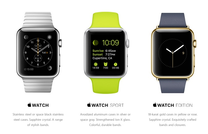 apple watch - three models